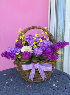 Blissful Lilac Flower Basket- Grapevine basket Height 19 inches, Length 15 inches, Width 9 inches- $222.00