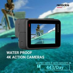 Whether you're going scuba diving or just want to chill on the beach, make the most of your next vacation with waterproof cameras! Get yourself a GoPro Hero 5 today! Thinking of Renting . Think of Rentickle! Gopro Action, Gopro Hero 5, Waterproof Camera, Gopro Camera, Renting, Shutter Speed, Scuba Diving, Digital Camera, Cameras