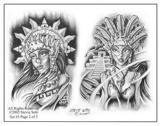 Aztec Tattoos And Drawings Flash Art Tattoos, Chicano Art Tattoos, Tattoo Art, Ear Tattoos, Dope Tattoos, Sketch Tattoo Design, Tattoo Sketches, Tattoo Designs, Tattoo Ideas