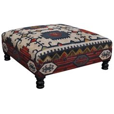 Our Best Living Room Furniture Deals Kilim Ottoman, Wicker Ottoman, Upholstered Ottoman, Coastal Furniture, Modern Furniture, Furniture Design, Handmade Ottomans, Apartment Interior, Custom Homes