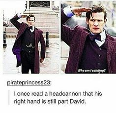 YES! Because at The Christmas Invasion, Ten had to regenerate a new hand after his got chopped off, so that hand is younger than the rest of him and doesn't have to regenerate. I love this headcanon!