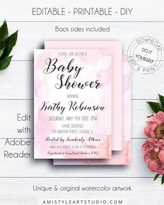 Watercolour Pink Baby Shower Invite, with graceful and fancy watercolor design in chic style.This lovely baby girl shower invite template listing is for an instant download EDITABLE PDF so you can download it right away, DIY edit and print it at home or at your local copy shop by Amistyle Art Studio on Etsy