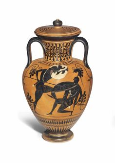 AN ATTIC BLACK-FIGURED NECK AMPHORA WITH LID ATTRIBUTED TO THE GROUP OF MUNICH 1501, CIRCA 530-520 B.C.