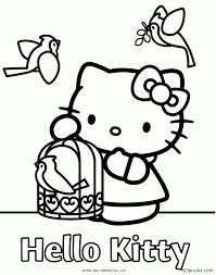 This Is A Coloring Sheet With Hello Kitty That Can Be Printed Standing Small Bird Cage Cute Heart Shapes On It Two Peace