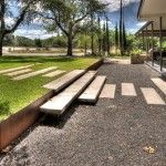 backyard sidewalk, retaining wall gravel for runoff and floating stairs
