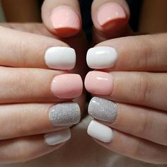 relaxing glitter nail art designs ideas - page 33 - Nails Gray Nails, White Nails, Glitter Nails, Nude Nails, Short Nails Shellac, Chevron Nails, Glitter Art, Cnd Shellac, Silver Glitter