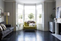 38 Super Ideas For Living Room Yellow Couch Fireplaces New Living Room, Home And Living, Living Room Decor, Living Spaces, Black Floorboards, Painted Floorboards, Painted Floors, Black Floor Paint, Dream Decor