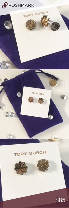 Tory Burch Flower Logo Studs Gorgeous silver and gold studs by Tory Burch! Gold logo in silver floral scallop. Brand new in their card, with dust bag! Perfect for any occasion 💋😊 Check out my other Tory Burch listings✨ Tory Burch Jewelry Earrings