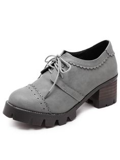 Grey Round Toe Hollow Lace Up Vintage Boots 35.00