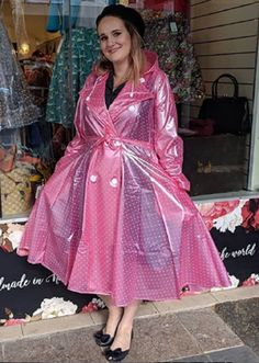 Pink Raincoat, Plastic Raincoat, Plastic Mac, Macs, Rain Wear, Wrap Dress, Polka Dots, Play, How To Wear