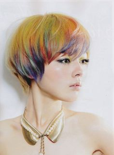 Yellow hair with colorful tips #short #hair