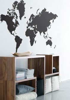 World map wall sticker by Ferm Living at BODIE and FOU   Wall stickers — Bodie and Fou - Award-winning inspiring concept store