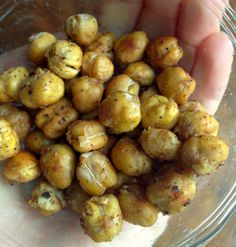 Roasted Chickpeas: 1 can garbanzo beans + S/P + olive oil + cumin + cayenne pepper. roast @ 450 for 25-30 minutes.
