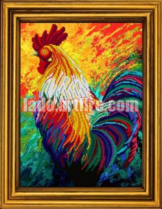 Year of the Rooster bead embroidery Gift Idea, DIY kit, decor