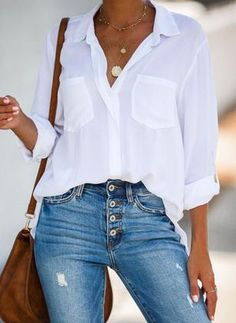 Have A Vision Button Down Top - White - Outfits for Work White Shirt Outfits, White Shirt And Jeans, White Button Down Shirt, Outfit Jeans, Jean Outfits, Cool Outfits, Casual Outfits, Fashion Outfits, Fashion Trends