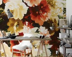 Large Floral Wallpaper Wall Mural Floral Home Décor Floral Large Floral Wallpaper, Fern Wallpaper, Floral Pattern Wallpaper, Vintage Floral Wallpapers, Flower Wallpaper, Mural Floral, Monochrome, Self Adhesive Wallpaper, Wall Murals
