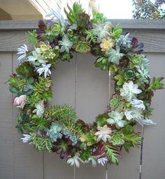 couronne de porte en  plantes succulentes