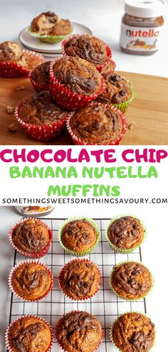 Chocolate Chip Banana Nutella Muffins Soft fluffy banana muffins with chocolate chips and Nutella swirls! Nutella Muffins, Banana Chocolate Chip Muffins, Chocolate Chips, Uk Recipes, Brunch Recipes, Delicious Recipes, Dessert Recipes, Easy Cupcake Recipes, Muffin Recipes