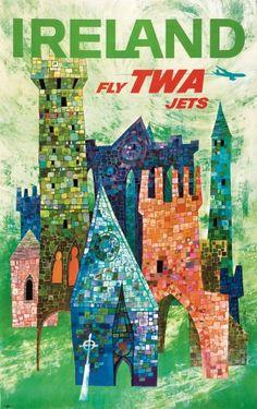 "PG329 ""Ireland Fly TWA Jets"" Poster by David Klein (1960)"