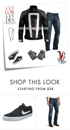 """""""Ghost Rider Jacket Robbie Reyes Agent of Shield"""" by moviesjacket ❤ liked on Polyvore featuring Post-It, NIKE, Wrangler, Reyes, men's fashion and menswear"""