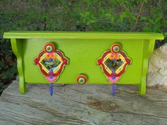 Distressed lime green shelf with wrought iron by patscraftingagain, $58.00