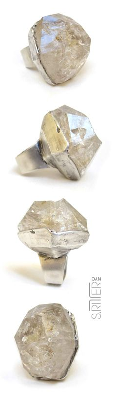 what's a girl, or guy!, to do if a block of icy crystal doesn't cool them down just right. make your own pool side legacy. splash. || raw fenster quartz set in sterling silver ring || raw natural stone rings || SRitterNYC.com || elegant and raw statement rings