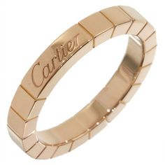 Pre-owned Cartier 18K Rose Gold Lanieres Wedding Band Ring Size 6 (935 CAD) ❤ liked on Polyvore featuring jewelry, rings, cartier ring, rose gold wedding rings, wedding band rings, pre owned jewelry and 18k rose gold jewelry