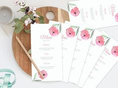 Your place to buy and sell all things handmade Wedding Menu, Floral Wedding, Wedding Flowers, Wedding Invitations, Wedding Ideas, Printable Menu, Printables, Watercolor Wedding, Floral Watercolor