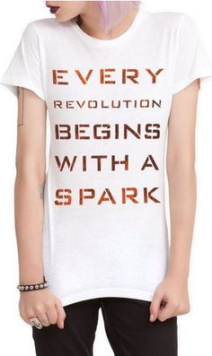 The Hunger Games: Catching Fire Revolution Tee  available now. I SO WANT THIS!!!!!!!