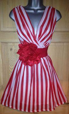 RED WHITE NAUTICAL STRIPE SAILOR pin up TEA DRESS & BELT ROCKABILLY M/L 12-14   eBay