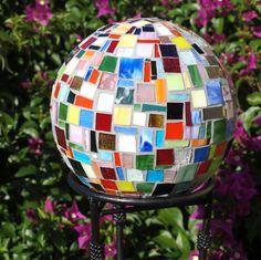 Repurpose Gazing Ball Rainbow multi-color Mosaic Bowling Unbreakable garden art