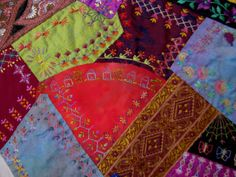 Crazy Stitcher: Sarsaparilla Crazy Quilt - A Learning Experience Crazy Quilting, My Past, Embellishments, Quilts, Embroidery, Blanket, Learning, Projects, Photos