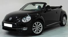 2014 Volkswagen Beetle Cabrio TDi Design convertible car for sale in Spain (Costa del Sol) Spanish registered left hand drive VW Beetle cabriolet finished in pearl effect deep black metallic with two tone grey cloth interior kms Vw Beetle Cabrio, Beetle Car, Volkswagen Convertible, Car Volkswagen, Pretty Cars, Cute Cars, My Dream Car, Dream Cars, Bug Car