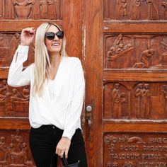 Ivory chiffon blouse | www.carlivh.com Cat Eye Sunglasses, Chiffon, Ivory, Van, Blouse, Fashion, Silk Fabric, Moda, Fashion Styles