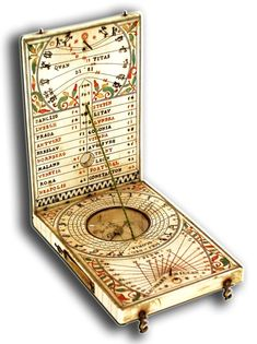 17th Century Ivory Diptych Sundial By Leonhart Miller.