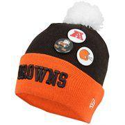 New Era Cleveland Browns Button Up Cuffed Knit Beanie - Brown/Orange #Fanatics #PinForPresents