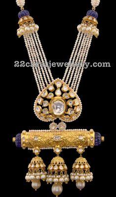 Pearls Set with Uncut Diamond Jhumka Pendant