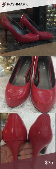 """🎄The Perfect Holiday Heels 👠 🍒 Cherry red patent leather heels! Only worn a few times after being purchased in NYC boutique. I was proposed to in these at my holiday party... great moments and memories attached! Sold as is; minor scuffing outside, minor peeling heel back at ankle and lining. Nothing effects wear of shoe and any wear is hard to see while you're wearing them. Stunning and I got TONS of compliments while wearing them...in fact people remember the """"great red shoes"""" more than…"""