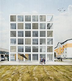 Gut gut - pop architecture visualization and presentation ар Architecture Collage, Architecture Visualization, Architecture Graphics, Architecture Drawings, Architecture Portfolio, Facade Architecture, School Architecture, Architecture Diagrams, Facade House