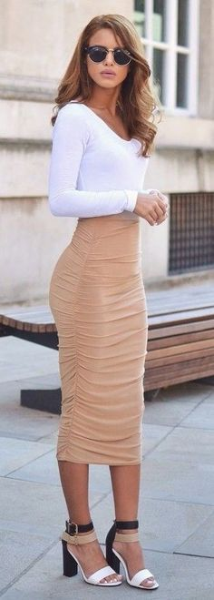 #streetstyle #casualoutfits #spring |White Top + Blush Pink Ruched Maxi Skirt | Nada Adellè