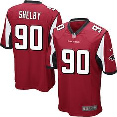 Men's Nike Atlanta Falcons #90 Derrick Shelby Game Red Team Color NFL Jersey