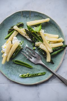 Casarecce with Griddled Asparagus, Sugar Snap Peas and Ricotta....... and basil and lemon........
