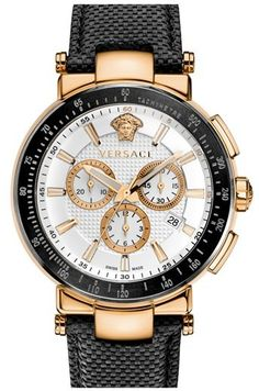 Versace 'Mystique Chrono' Leather Strap Watch, 46mm    | ≼❃≽ @kimludcom
