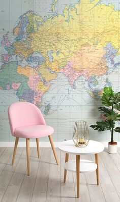 Can't decide between vintage or modern? Contrast the old with the new with this beautiful vintage map mural. Its pastel colour palette gives it a contemporary touch and works a dream in modern living room spaces.