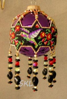 Hummingbirds woven Delica bead Christmas Ornament by SKLstyles, $45.00