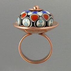 Bowerbird Studio/Tabitha Pearson: Handmade lampwork glass bead set in copper. Sold.