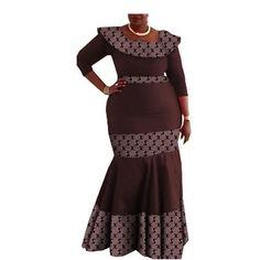 Image of Elegant African print mermaid dress designs three quarter sleeve O-neck ankle-length trumpet women cotton dress Dress Designs, African Dress, Quarter Sleeve, Traditional Design, Ankle Length, Cotton Dresses, African Fashion, Sleeve Styles, Designer Dresses