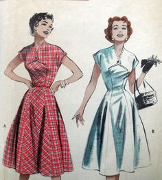 Butterick 6912 - Beautiful Princess-Seamed Dress - Rockabilly, Fit-and-Flare - Size 18 (Bust - Unusual Design, Retro, Classy, DIY 60 Fashion, Over 50 Womens Fashion, Fashion Tips For Women, Modest Fashion, Fashion Outfits, Vintage Dress Patterns, Vintage Dresses, Vintage Outfits, Vintage Fashion 1950s