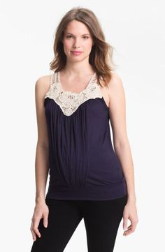 New JAPANESE WEEKEND Maternity Nursing Navy Boho Style Crochet Summer Tank Top