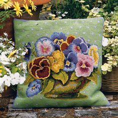 Pansy Bowl - Ehrman Tapestry Tribal Images, Needlepoint Kits, Knit Or Crochet, Pillow Set, Pansies, Hobbit, Textile Art, Needlework, Cross Stitch